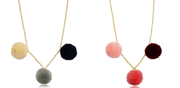 Mileez Pom Pom Dangle Necklace set