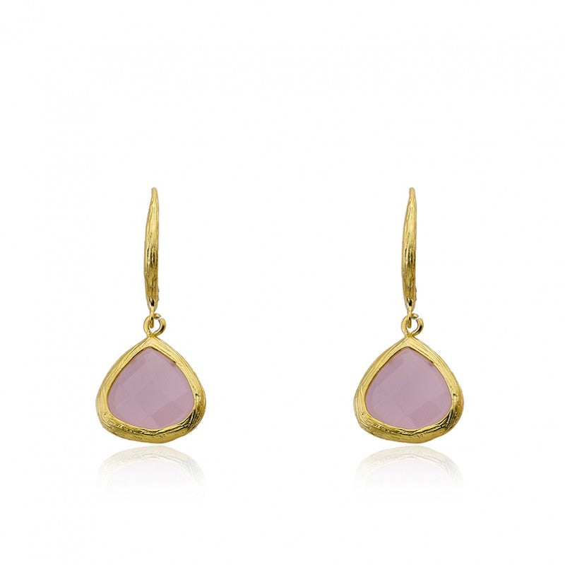 ARCTIC MIST Gold And Stone Teardrop Earrings