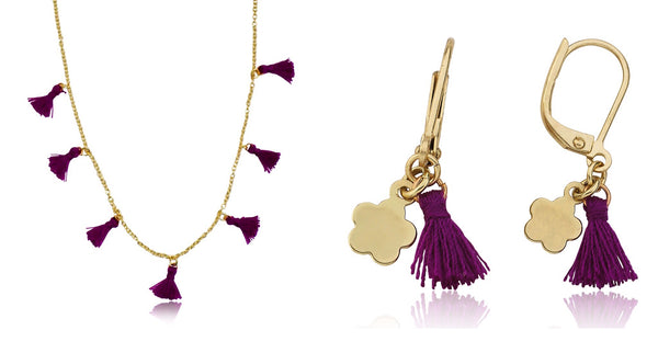 Mileez Purple Tassle Necklace earring set