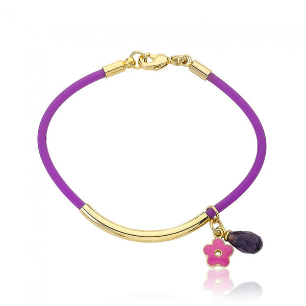 JEWEL BANDZ Purple & Aqua Rubber Charm Bracelet