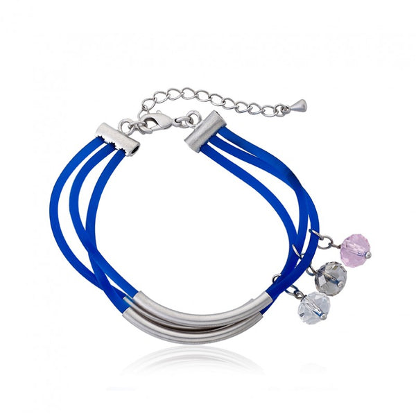 JEWEL BANDZ Blue & Black Three Strand Rubber Charm Bracelet