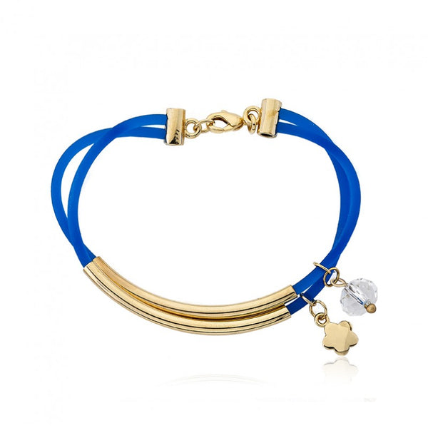 JEWEL BANDZ Blue Two Strand Rubber Bracelet