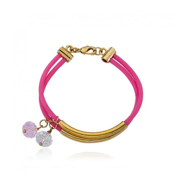JEWEL BANDZ Hot Pink Two Strand Rubber Bracelet