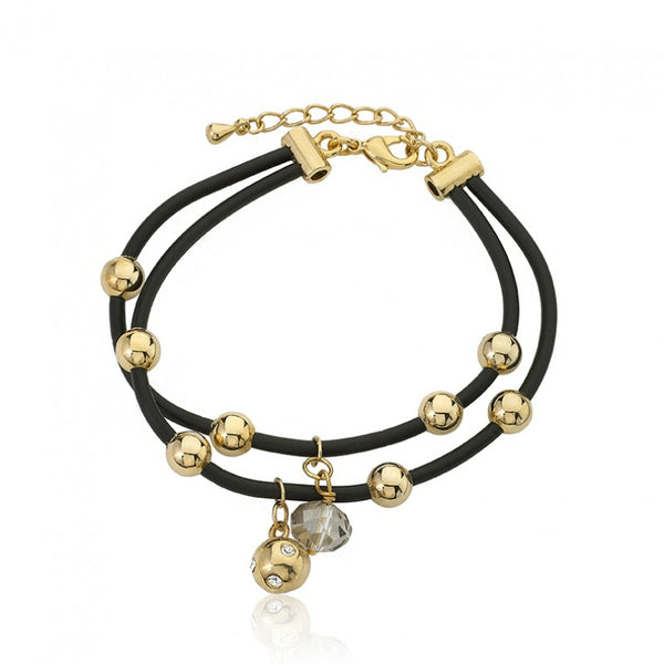 JEWEL BANDZ Black Double Strand Rubber Bracelet