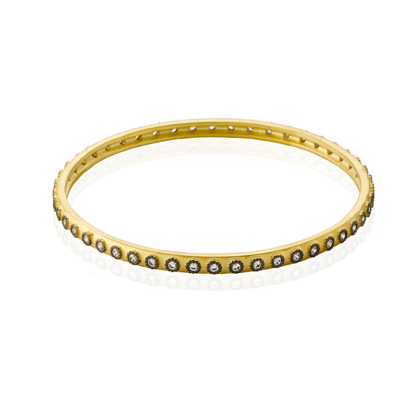 Cosmopolitan Satin 14K Gold Plated Bangle With CZ In Black Rhodium Bezels