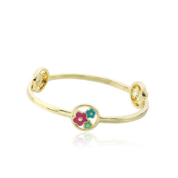 LMTS Stackable Stunners 14K Gold Plated Bangle Accented With Cut Out Enamel Flowers Disc Stations