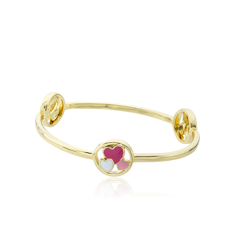 STACKABLE STUNNERS Bangle With Cut Out Hearts Disc Stations
