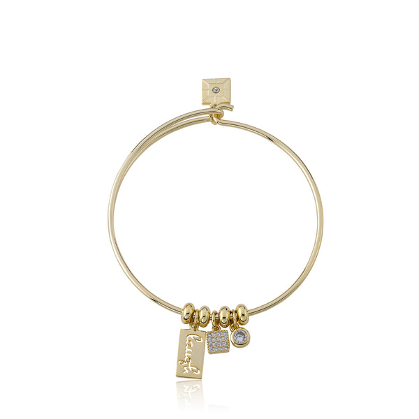 "Retro ""Laugh"" Wire Charm Bangle"