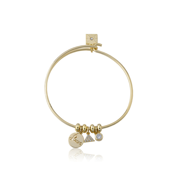 "Retro ""Love"" Wire Charm Bangle"
