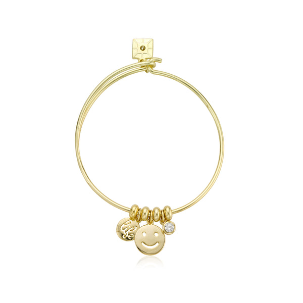 Retro Emoji Wire Charm Bangle