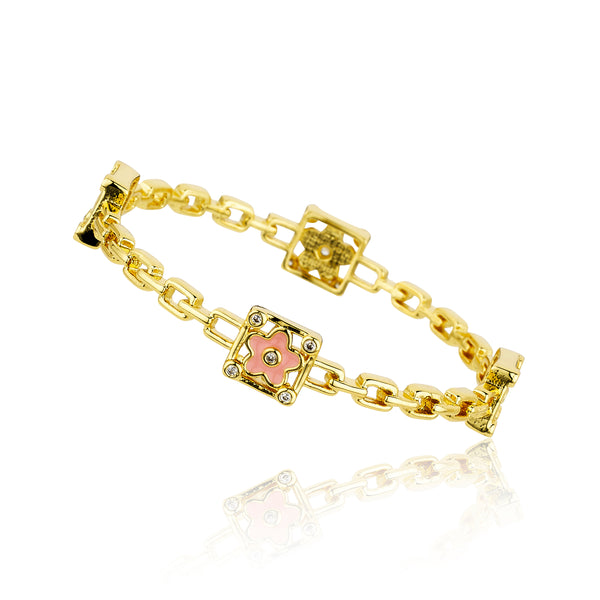14K Gold Plated Pink Enamel Flower In Cz Cornered Square Links Bangle