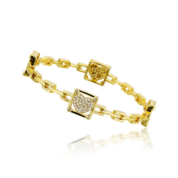 14K Gold Plated Cz Hearts In Cz Cornered Square Links Bangle