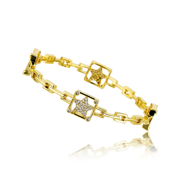 14K Gold Plated Cz Stars In Cz Cornered Square Links Bangle