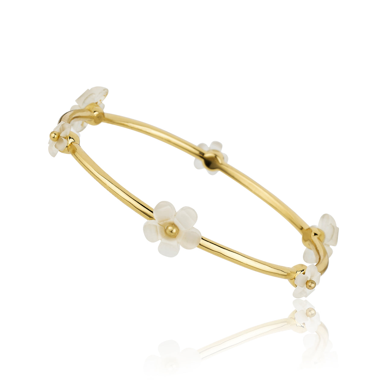 14K Gold Plated Frosted Alternating Flowers Bangle