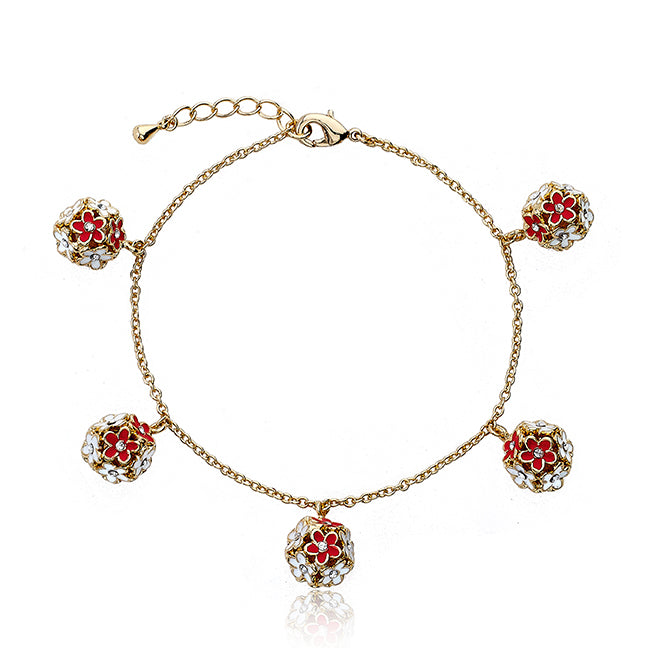 FROSTED FLOWERS Flower Cluster Charm Bracelet