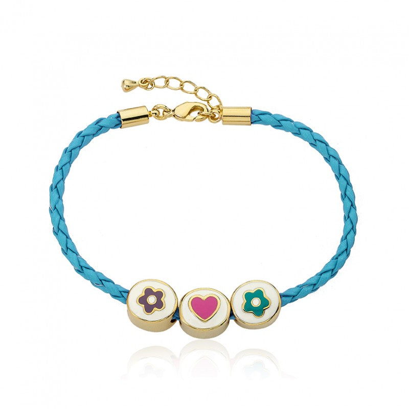 JEWEL BANDZ Aqua Braided Leather Bracelet
