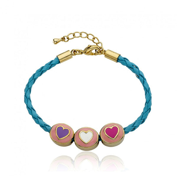 JEWEL BANDZ Aqua Braided Hearts Bracelet