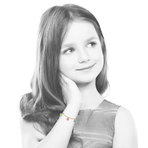 I LOVE MY JEWELS Multi Color Enamel Hearts Charm Bracelet