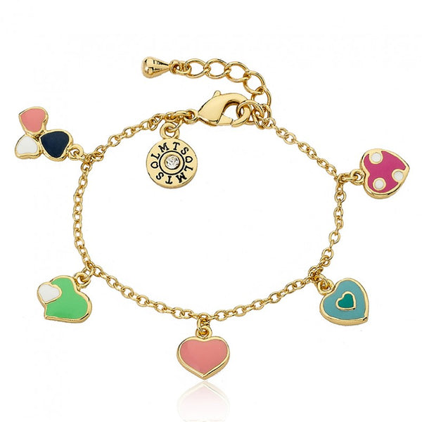 I LOVE MY JEWELS Multi Color Enamel Assorted Hearts Charm Bracelet