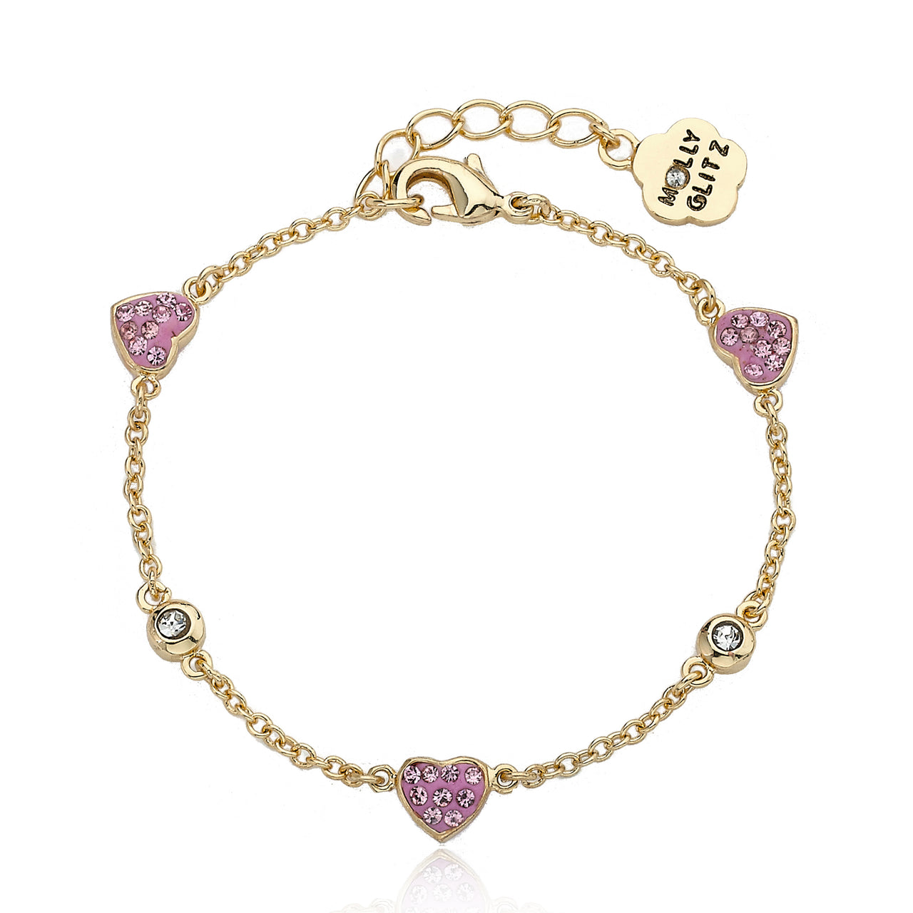 Heart Of Jewels 3 Crystal Heart Chain Bracelet