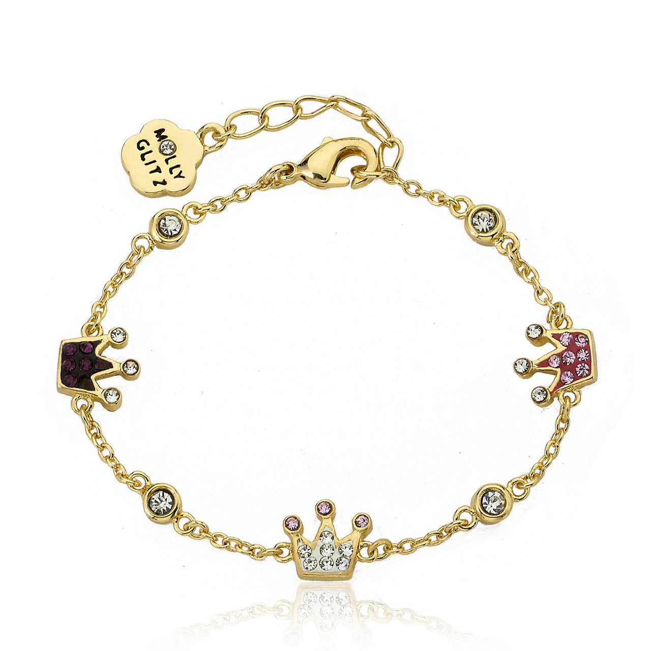 Pretty Princess Crystal Crown Chain Bracelet