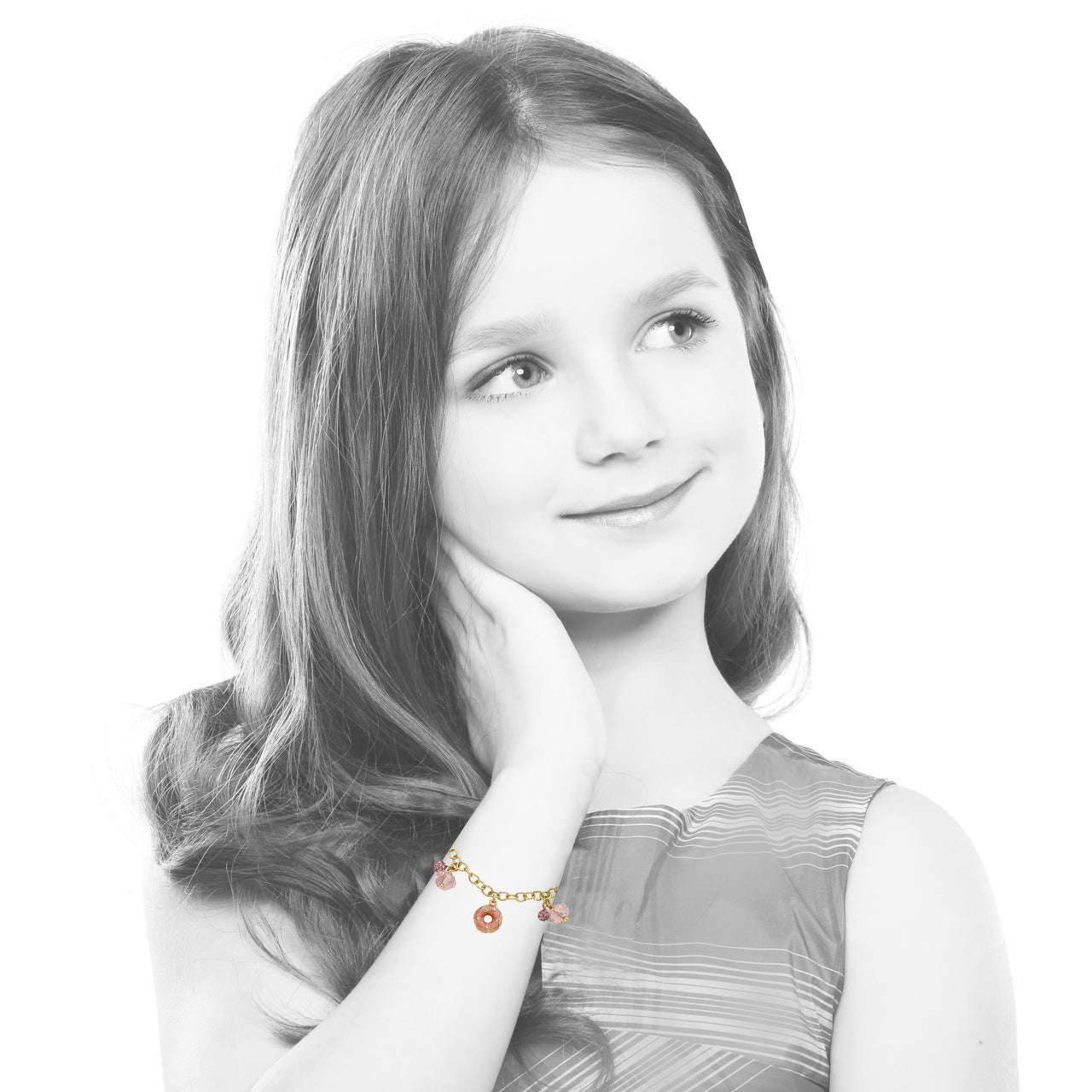 Sparkle Sweet Crystal Donut Dangle Bracelet