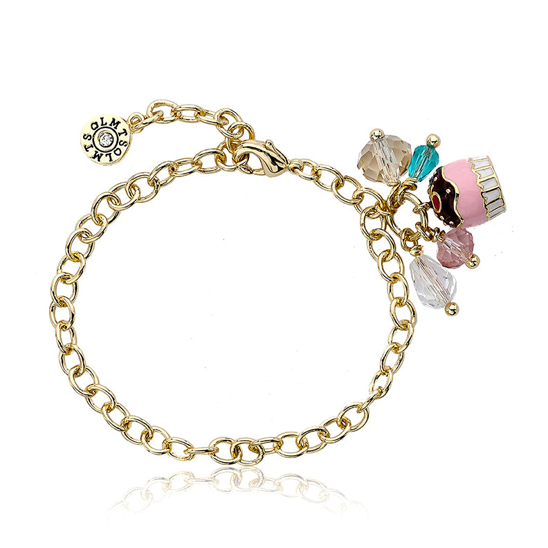 CANDYLAND Chocolate Frosted Cupcake Cluster Charm Bracelet