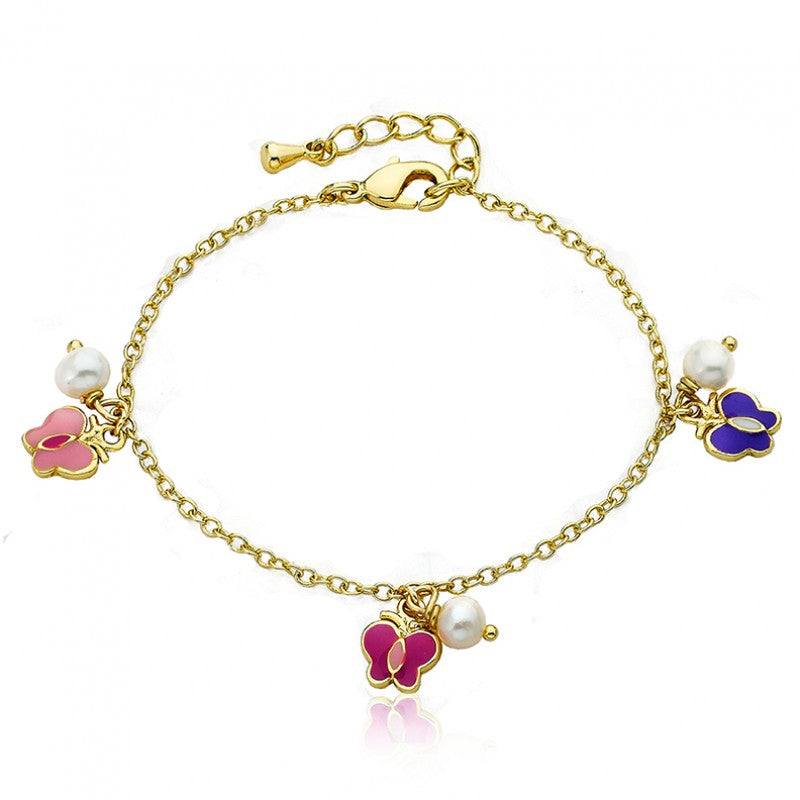 CHARMING TREATS Butterflies & Fresh Water Pearl Charm Bracelet