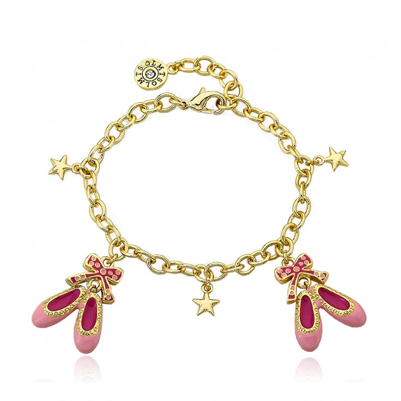 BALLET BEAUTY Ballet Slippers and Bows Charm Bracelet