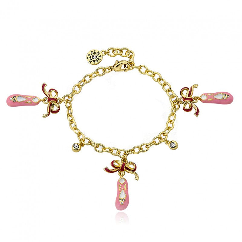 BALLET BEAUTY Ballet Slippers and Crystal Charm Bracelet