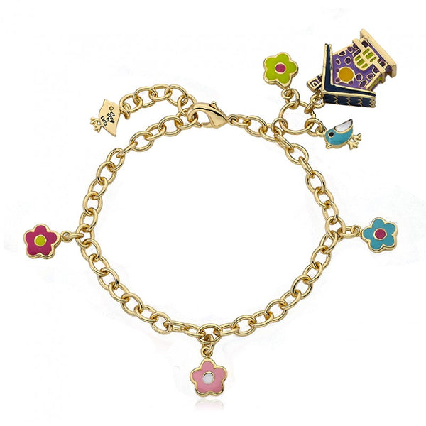 FAYE BY LMTS Purple Birdhouse & Flower Charm Bracelet
