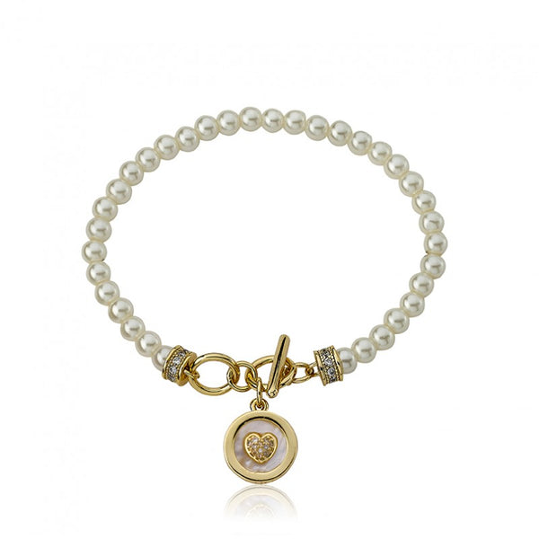 LITTLE MISS FLOWER GIRL Pearl Bracelet with MOP Heart Charm