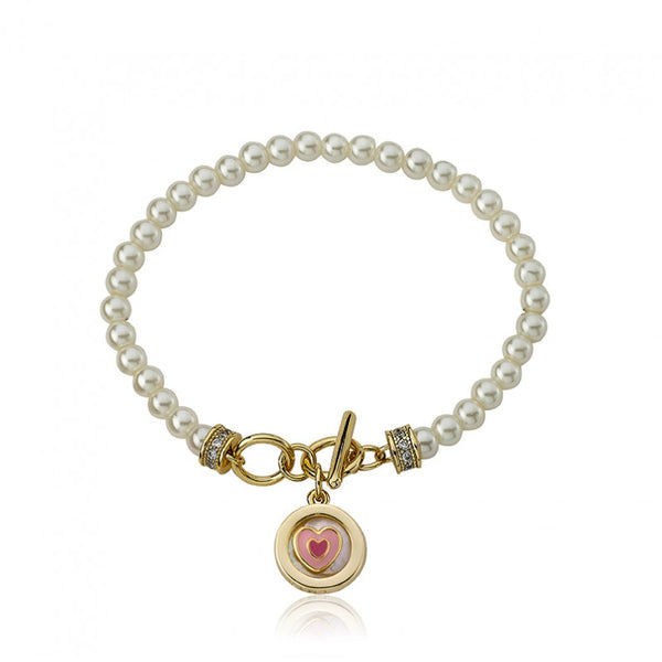 LITTLE MISS FLOWER GIRL Pearl Bracelet with MOP Enamel Heart Charm