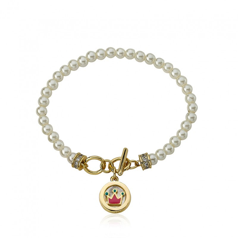 LITTLE MISS FLOWER GIRL Pearl Bracelet with MOP Crown Charm