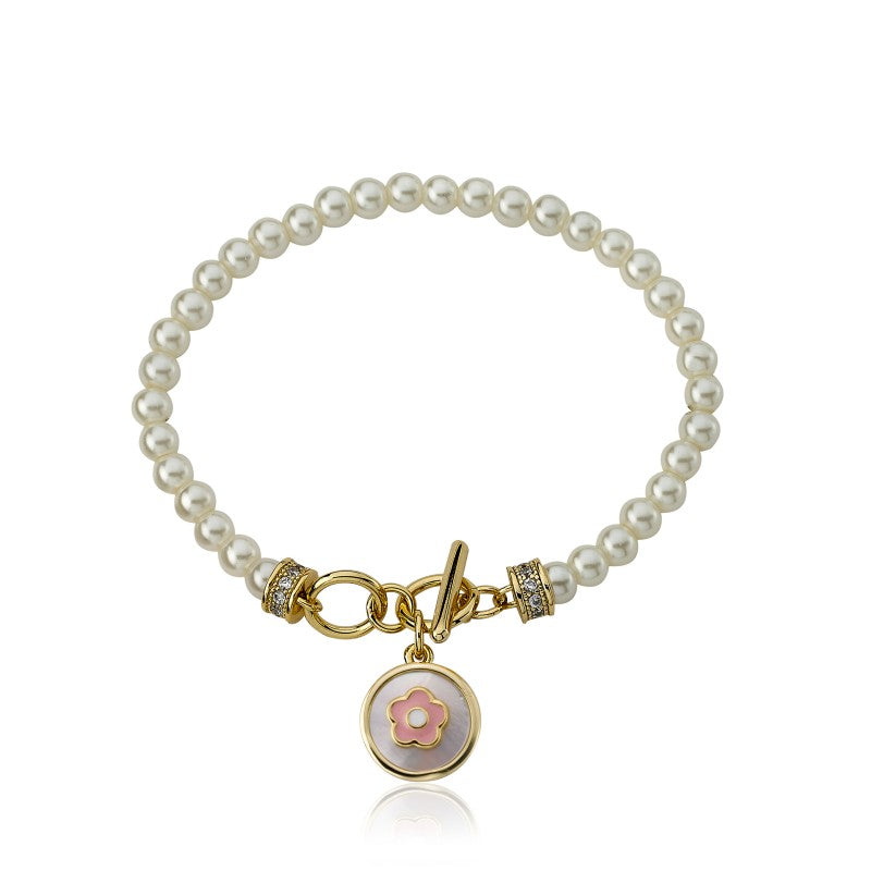 LITTLE MISS FLOWER GIRL Pearl Bracelet with MOP Enamel Flower Charm