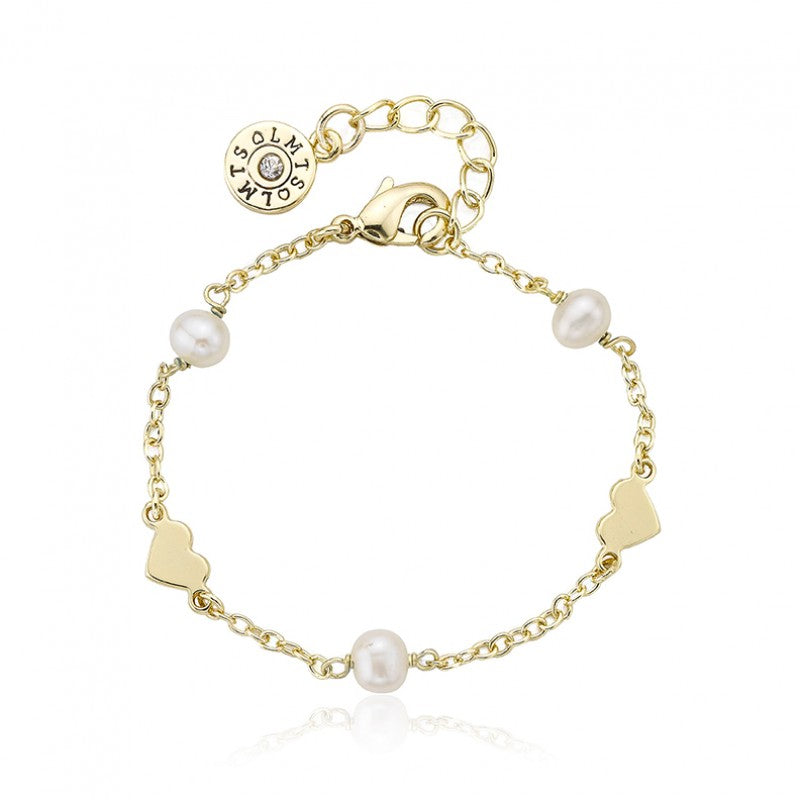 LITTLE MISS FLOWER GIRL Pearl & Hearts Station Bracelet
