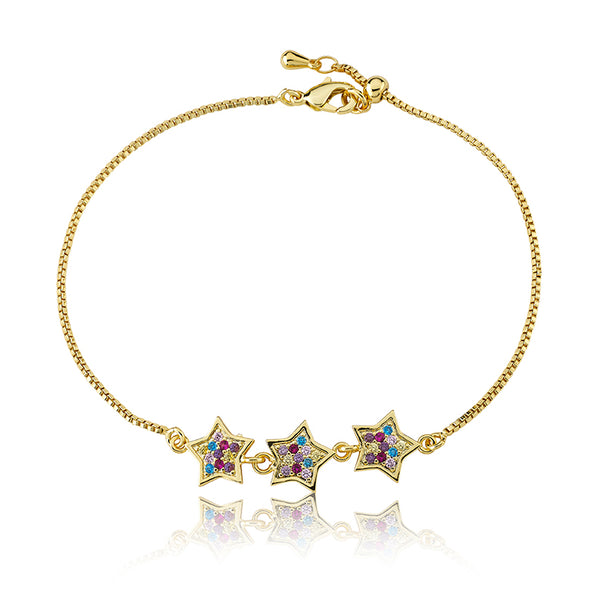 14K Gold Plated Cz Filled Stars Bracelet