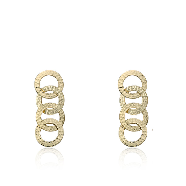 Country Chic Hammered Open Circles Link Earrings