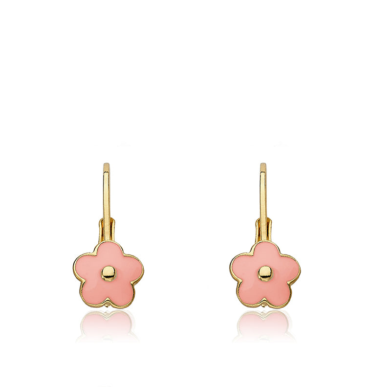 FROSTED FLOWERS Enamel Leverback Flower Earring