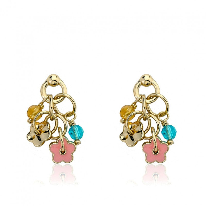 FROSTED FLOWERS Link Cluster Charm Earring