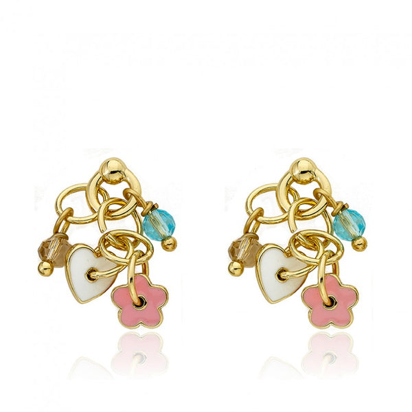 I LOVE MY JEWELS Multi Flower & Heart Cluster Charm Earring