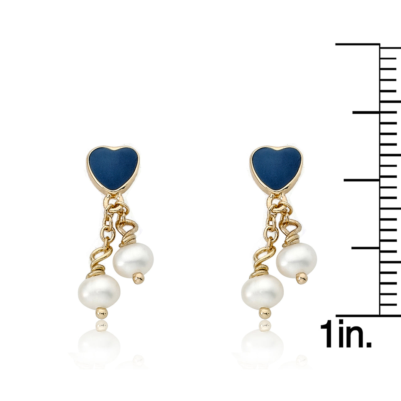 I LOVE MY JEWELS Blue Heart With Two Pearl Lariat Dangle Earring