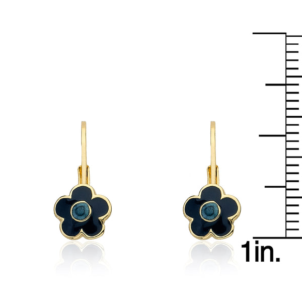 FROSTED FLOWERS Blue Flower Leverback Earring