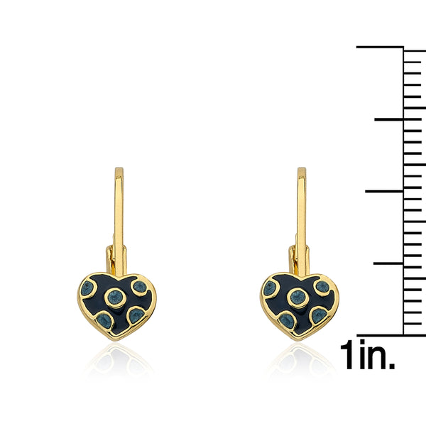 I LOVE MY JEWELS Blue Polka Dot Heart Leverback Earring
