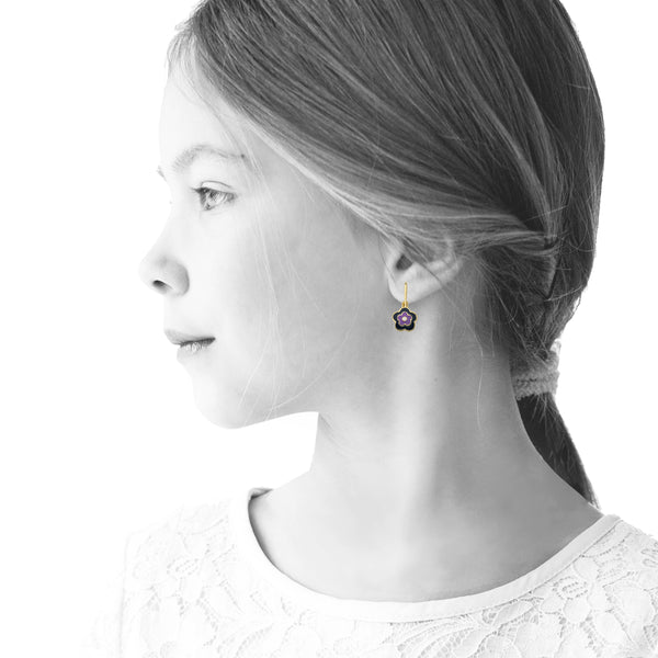 FROSTED FLOWERS Three Tone Flower Earring