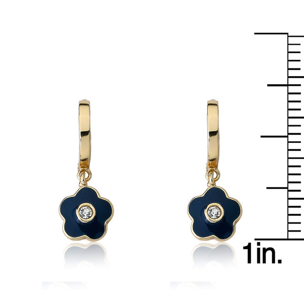 FROSTED FLOWERS Blue Flower Huggy Earring