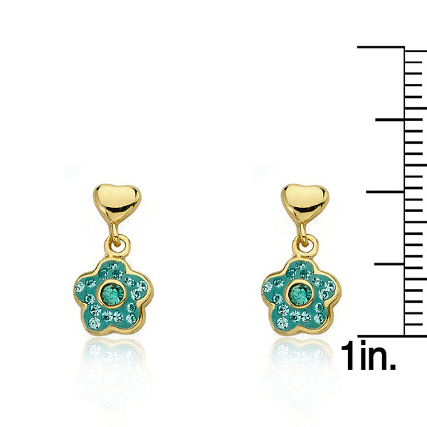 FLOWERY GLITZ Crystal Flower Dangle Earrings