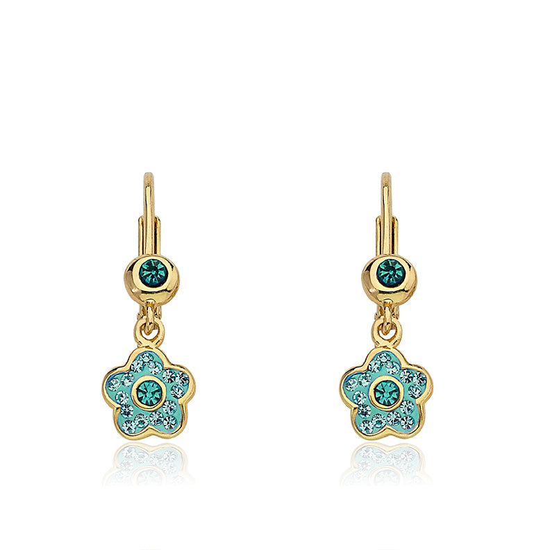 FLOWERY GLITZ Crystal Flower Circle Leverback Earrings