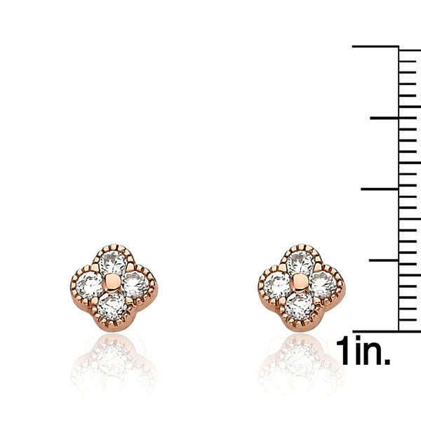 LITTLE MISS FLOWER GIRL Cz Small Flower Square Stud Earring