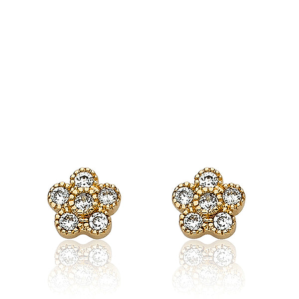 LMTS Little Miss Flower Girl Rhodium Plated Cubic Zirconia Small Flower Stud Earring/ Brass